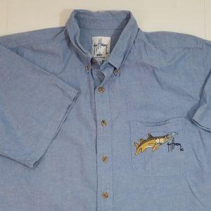 Guy Harvey blue short sleeve button up XL